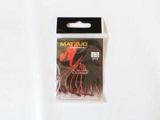 Matzuo Wide Gap Worm Hook 110061 Sz 3/0 Red Qty 6