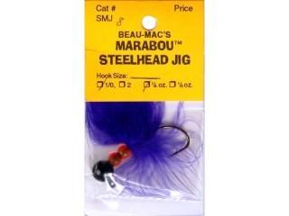 Beau Mac's Marabou Steelhead Jig Sz 1/0 1/4 Oz Purple/Flo Red/