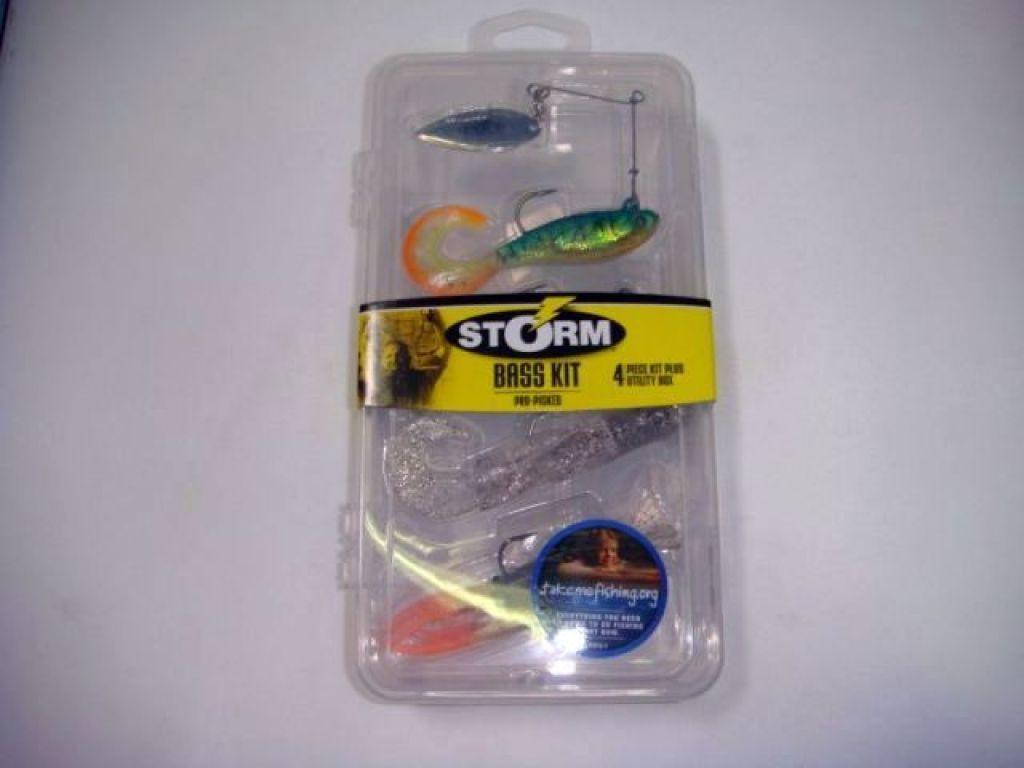 Storm bass kit sbk 1 qty 4 plus utility box bass fishing for Bass fishing kit