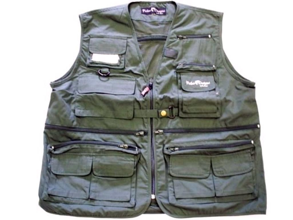 Fisher designs anglers fly vest sz medium dark green fly for Discount fly fishing gear