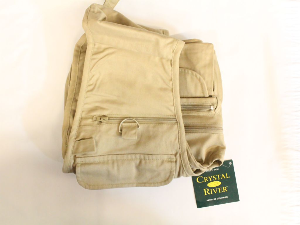 Crystal river shorty fly fishing vestcr fv1 l sz large tan for Discount fly fishing gear