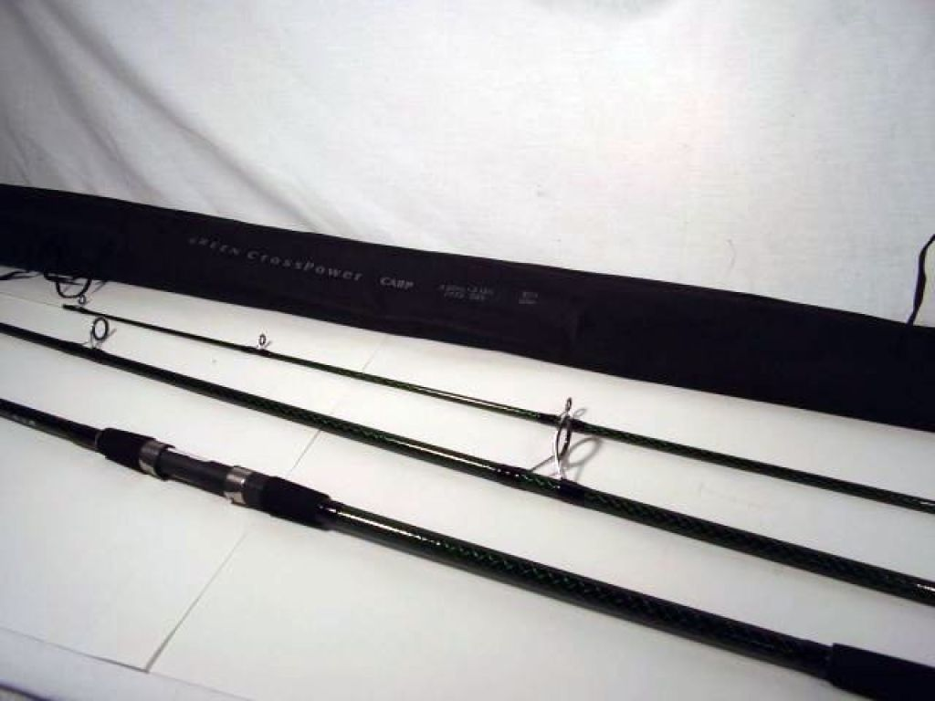 D a m green crosspower carp 11 39 9 3pc for Fishing rod socks